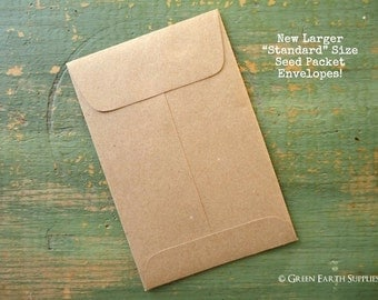 "50 Standard Seed Envelopes, Kraft Brown Standard Size Seed Packets, Favor packets, shower favor / wedding favor envelopes, 3x4.5"" (76x114mm)"