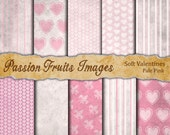 Soft Valentines Digital Paper Pack in Pale Pink--Instant Download