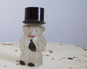 Antique figural perfume bottle man top hat black tie frosted glass original cold paint 1930s Free shipping to USA