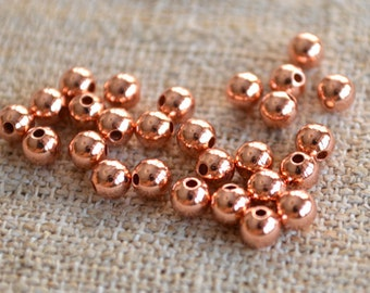 1000pcs Copper Metal Beads Solid Shiny Round 5mm