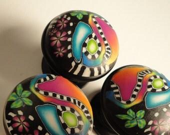 Cabinet Knobs / Pulls Polymer Clay 8 Unique decorative knobs Purple  Blue  Green Fuchsia  Zebra stripe