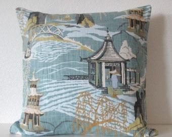 Neo Toile Cove asian toile decorative pillow cover blue green gray