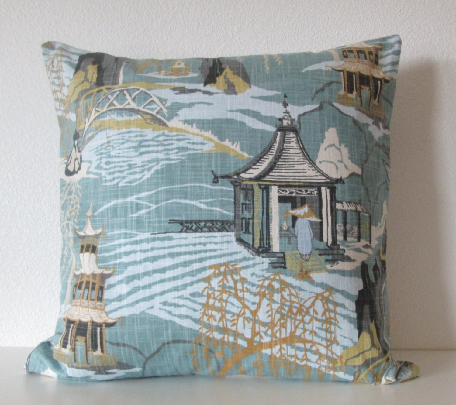 neo toile cove asian toile decorative pillow cover blue green. Black Bedroom Furniture Sets. Home Design Ideas