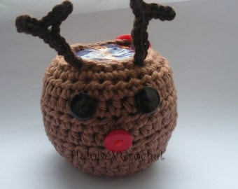 Crochet Pattern - Christmas Rudolph the Reindeer Apple or Chocolate Orange Cozy - instant digital download