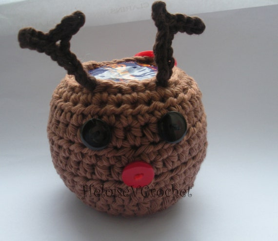 Knitting Pattern For Christmas Pudding To Cover Chocolate Orange : Crochet Pattern Christmas Rudolph the Reindeer Apple or