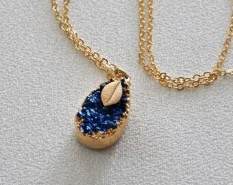 Druzy Necklace, Gold Edged, Gemstone Pendant, Teardrop Druzy, Deep Royal Blue Druzy