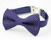 Bow Tie Dog Collar - Navy Pin Dot