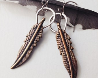 Brass and Sterling Feather Dangle Earrings