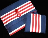 Red-White-Blue striped envelope clutch tablet or e-reader case with zipper coin purse phone case ooak