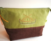 Canoe embroidered cosmetic toiletries makeup washbag travel kit shaving bag cotton corduroy unisex