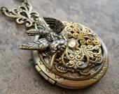 Three Dimensional Bird Locket in Brass, One-of-a-Kind READY TO SHIP Brass Locket