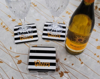 Set of 4 holiday coasters black and white cabana stripes Cheers