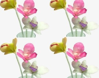 Polymer Clay Flowers Supplies Tropical Orchids for Handmade Gifts, set of 12 stems