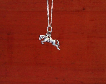 Hunter Jumper Horse Pendant withChain Sterling Silver,Equestrian Jewelry,Hunter Jumper Necklace
