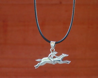 Race Horse Jockey or Eventing Longchamp Style Pendant Sterling Silver,Equestrian Necklace,Horse Racing Pendant