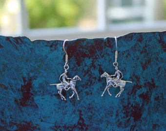 Polo Horse and Rider Earrings Sterling Silver,Polo Jewelry,Equestrian Earrings,Horse Jewelry