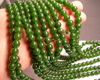 Jade - 8 mm round beads -1 full strand - 48 beads - color - dark green Jade - RFG126
