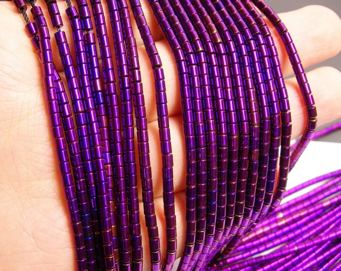 Hematite mystic purple - 3mm tube beads - full strand - 130 beads - AA quality - 3x3 - PHG75