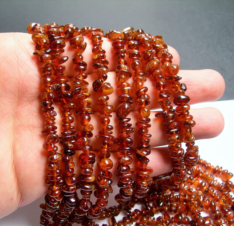 Hessonite Garnet chip stone beads 36 inch strand