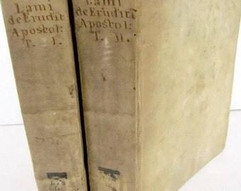2 antique vellum books in latin