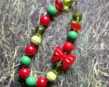 Ready To SHIP!! Chunky Bubblegum Bead Necklace, Christmas Chunky Beaded Toddler Necklace.