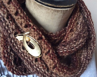 Hand Knitted Moebious Infinity  Cowl/Neck Warmer in Warm Brown Wool Yarn.  Womens fashion accessory.