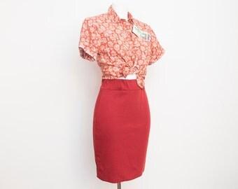 NOS Vintage dark red tube Skirt size S