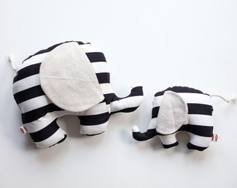 Small Elephant ~ Baby Gift ~ Modern Black and White Stripe ~ Baby Shower ~ Cushioin ~ Gender Neutral ~ Nursery Decoration