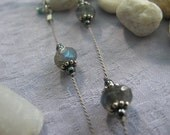 Labradorite & Hematite with Bali Silver Float Necklace on Silk Cord
