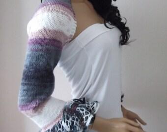 Frilly Lilac/Gray /White Shrug or scarf-New Item- Elegant Shrug - Any Season-Bolero- hand knitted,lace,super soft and stylish