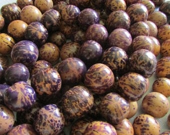 Bombona Beads, Markdown, Pambil Beads, Marbled Purple and Tan Beads, Organic Beads, Natural Beads, Vegetable Ivory Beads, EcoBeads