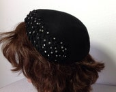 Black Felt Pleated Beaded Women's Vintage Hat 1940's Noreen Fashions