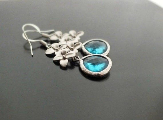 Aquamarine Cherry Blossom Earrings, Blue Zircon Drop Dangle Earrings - Also Available in Gold, Bridesmaids Gift, Maid of Honor