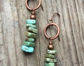 Turquoise Earrings Turquoise Jewelry Copper Turquoise Boho Jewelry
