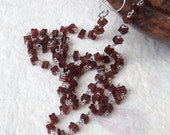 Garnet necklace, square necklace, square garnet, red beaded necklace, birthday necklace, sterling silver