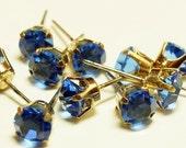 Vintage Swarovski Sapphire Blue Gold Prong Set 6mm Earring Posts (6)