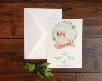 Floral Wreath Bohemian Arrow Baby Girl Announcement