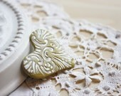Brooch Shawl Scarf Pin / Pale Golden Moss Etched Heart / Handmade Jewelry Jewellery