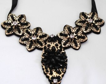 Floral Statement Necklace/Bib Necklace/Gold/Black/Winter/Embellished/Under 25 USD/Adjustable/Special Occasion/Wedding Jewelry