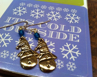 SNOWMEN Earrings Cold Frozen Winter Jewelry Happy Charms Deep Rich Aqua Czech Bead Gold tone Youthful Cold Climate Accessory