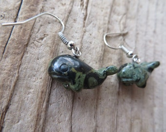 Green Jasper Whale Earrings