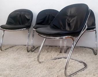 Mid Century Modern Gastone Rinaldi Basket Chrome Dining Chairs Italian Mod
