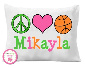 Girls Basketball Pillowcase , Peace Love Basketball  Personalized Pillow Case