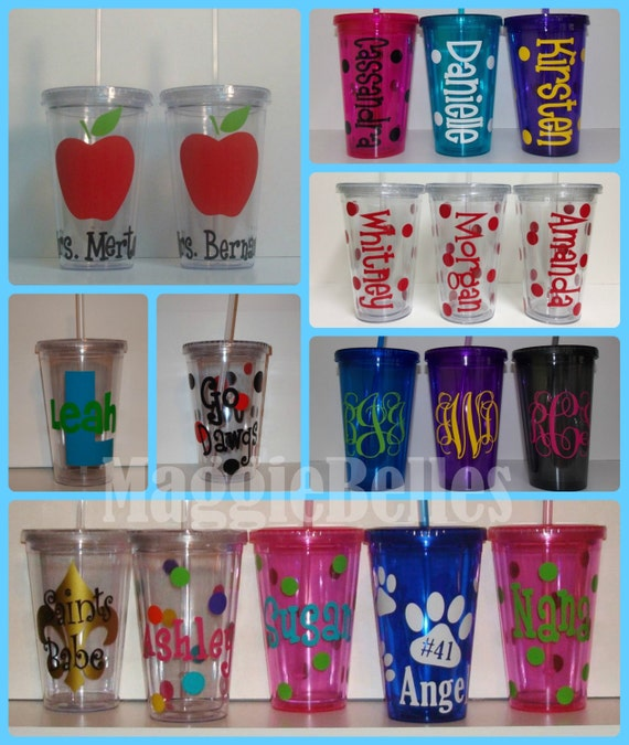 Personalized Acrylic tumbler CUP with lid and straw polka dots teacher sports gift double wall insulated
