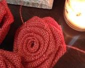 Burlap Roses-Set of 10-Coral