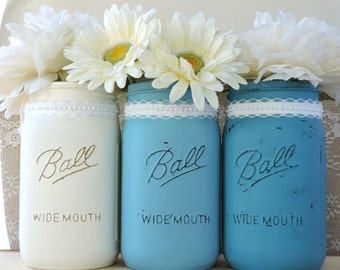3 Shabby Chic Mason Jar Flower Vases with Lace, Beach or Cottage Themed Home or Wedding Decor. Hand Painted and Distressed.