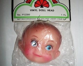 Vintage Packaged Plastic/Vinyl  doll faDarice Doll Head