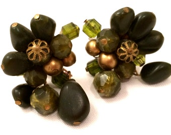 GERMANY Pre War Fabulous Waterfall GREEN Plastic Clip on Earrings Cluster Jewelry Runway genuine authentic vintage