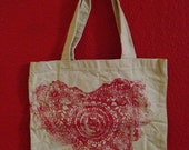 Heart Print Canvas Tote with crochet stamp, linoleum print