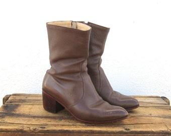 Vintage Handmade Distressed Brown Leather Heeled Zip Up Chelsea Boots Ladies Size 8, Mens 6